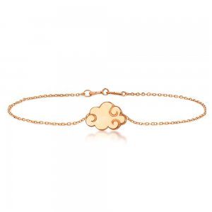 14K Solid Gold Modern Design Clouds Bracelet