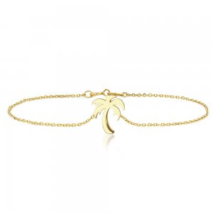 14K Solid Gold Modern Design Palm Bracelet