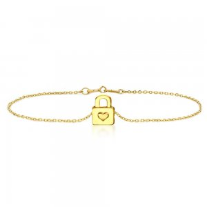 14K Solid Gold Modern Design Lock Bracelet