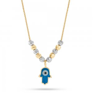 14K Solid Gold Enamel Hamsa Palm Necklace