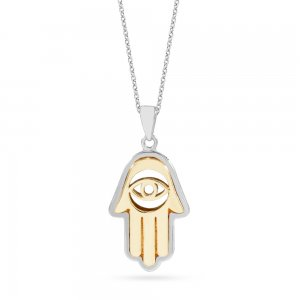 14K Solid Gold Hamsa Palm Necklace