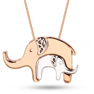 14K Solid Gold Elephant Necklace