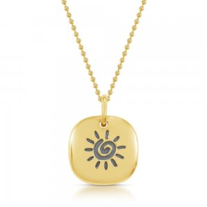 14K Solid Gold Sun Necklace