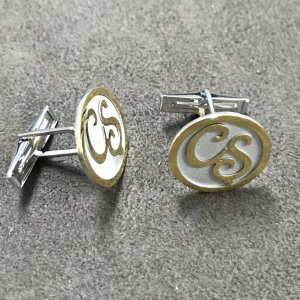 14K Solid Gold Initial Cufflink