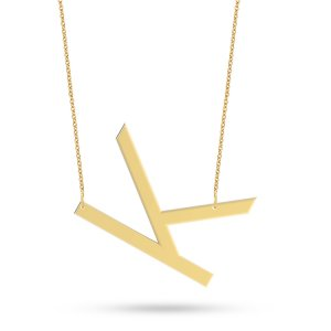 14K Solid Gold Initial Necklace