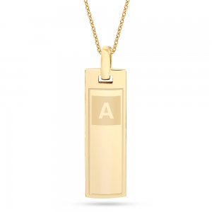 14K Solid Gold Initial 3D Bar Necklace