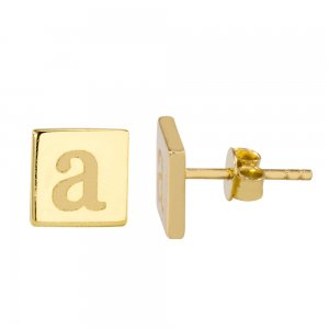14K Solid Gold Initial Earring
