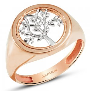 14K Solid Gold Modern Design Life Tree Ring