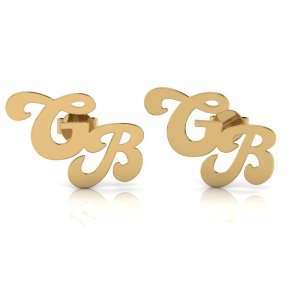 14K Solid Gold Initial Double Letter Earring