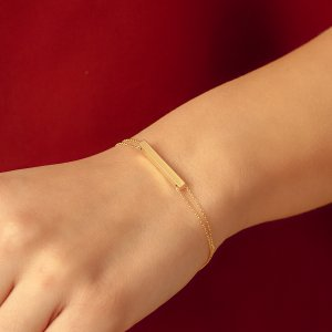 14K Solid Gold Name 3D Bar Bracelet