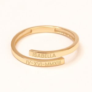 14K Solid Gold Name Ring