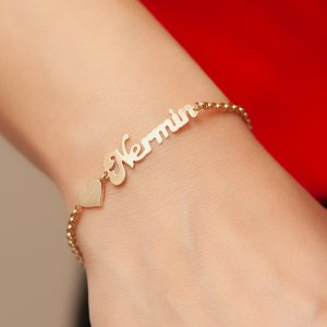 14K Solid Gold Name Heart Bracelet