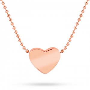 14K Solid Gold Heart Classic Necklace