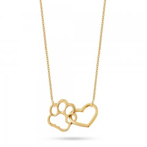 14K Solid Gold Heart Paw Necklace
