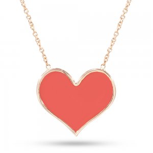14K Solid Gold Enamel Heart Necklace