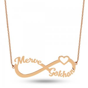 14K Solid Gold Name Heart Infinity Necklace