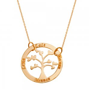 14K Solid Gold Name Heart Life Tree Necklace