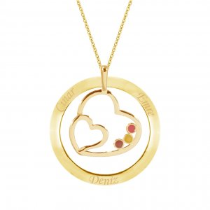 14K Solid Gold Ring Name Enamel Heart Necklace