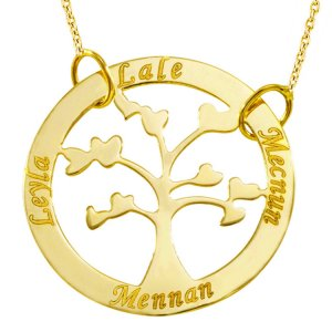 10K Solid Gold Name Heart Life Tree Necklace
