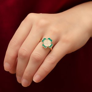 14K Solid Gold Enamel Heart Clover Ring