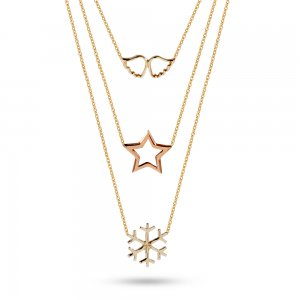 14K Solid Gold Snow Flake Wing Star Necklace