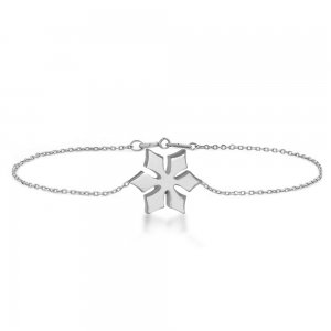 14K Solid Gold Modern Design Snow Flake Bracelet