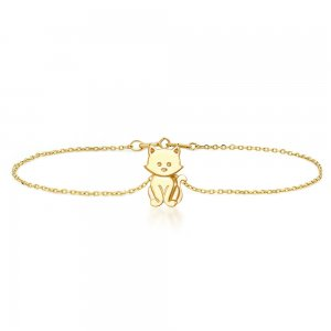 14K Solid Gold Modern Design Cat Bracelet