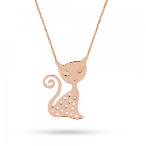 14K Solid Gold Cat Necklace