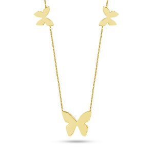 14K Solid Gold Butterfly Necklace