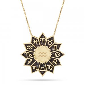 14K Solid Gold Aquarius Necklace
