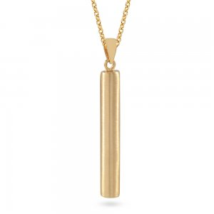 14K Solid Gold 3D Bar Necklace