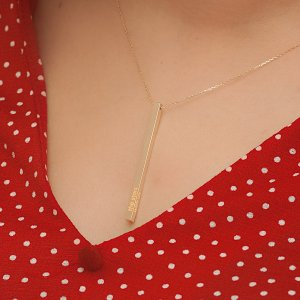 14K Solid Gold Name 3D Bar Necklace