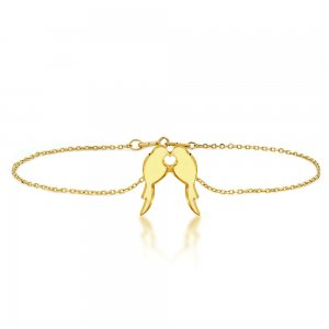 14K Solid Gold Modern Design Bird Bracelet