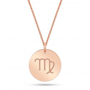 14K Solid Gold Locket Virgo Medallion Necklace