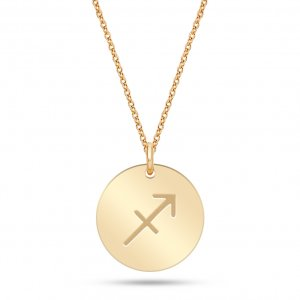 14K Solid Gold Locket Sagittarius Medallion Necklace