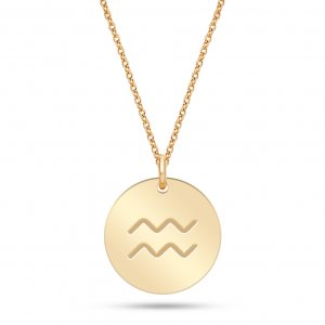 14K Solid Gold Locket Aquarius Medallion Necklace