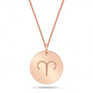 14K Solid Gold Locket Medallion Aries Necklace