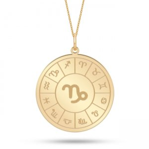 14K Solid Gold Locket Capricorn Medallion Necklace