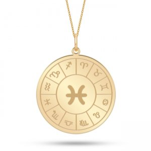 14K Solid Gold Locket Pisces Medallion Necklace