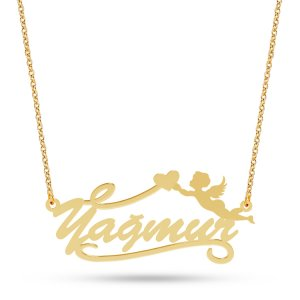 14K Solid Gold Name Heart Angel Wing Necklace
