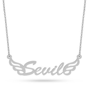 14K Solid Gold Name Wing Necklace