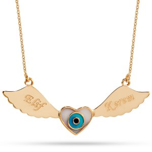 14K Solid Gold Name Enamel Heart Angel Evil Eye Wing Necklace