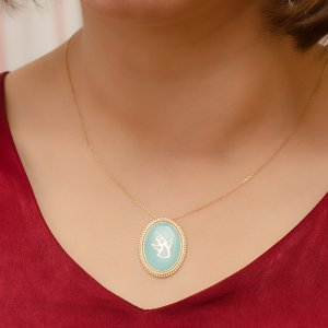14K Solid Gold Enamel Angel Necklace