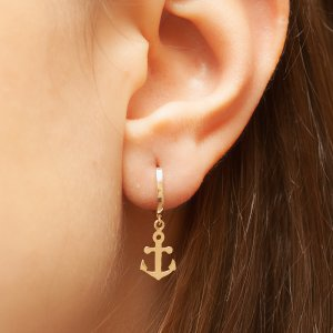 14K Solid Gold Anchor Earring
