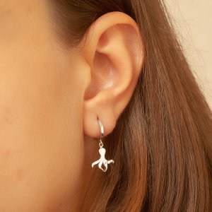 14K Solid Gold Octobus Earring