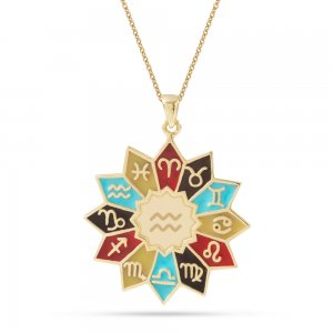 14K Solid Gold Enamel Aquarius Necklace