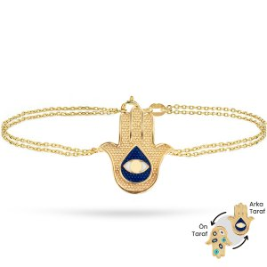 14K Solid Gold Enamel Evil Eye Hamsa Palm Bracelet