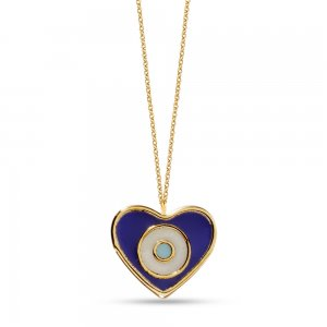 14K Solid Gold Enamel Heart Evil Eye Necklace