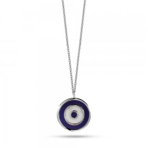 14K Solid Gold Enamel Evil Eye Necklace