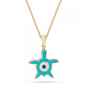 14K Solid Gold Enamel Evil Eye Turtle Necklace